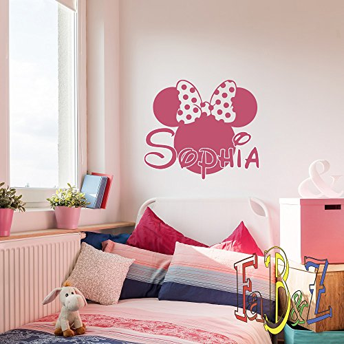 Personalized Girl Name Wall Decal Minnie Mouse Custom Vinyl Decals Cartoon Stickers Baby Kids Girls Room Bedroom Nursery Wall Art Decor M052 ()