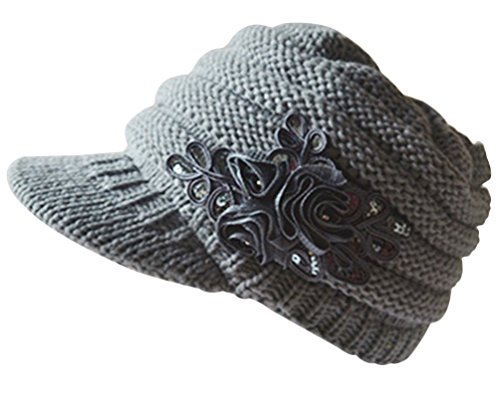 Women Cute Winter Visor Hat Cable Knit Visor Cap with Sequin Flower Accent (Gray Winter Knit Hat)