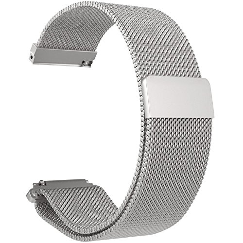 ECSEM Replacement Metal Bands Watch Straps - Choice of Color & Width (22mm) - Premium Strong Milanese Loop Watch Bands, (Gen Metal)
