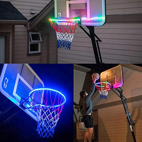 Inverlee Light Up LED Rim Kit Basketball Rim Attachment - Helps You Shoot Hoops at Night - Glow in The Dark Basketball Net (A)