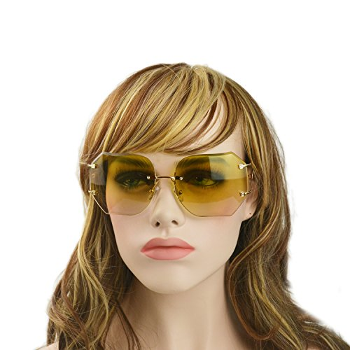 MINCL/2016 HOT RIMLESS SUNGLASSES WOMAN CLEAR LENS (gold, gold)
