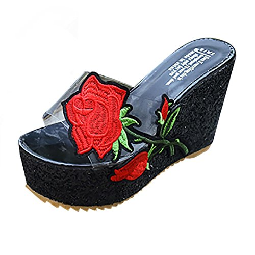Slippers Heeled Women Sandals Women Sonnena Embroidered Platform Shoes Thick Black Sloped High Bottom Wedges For qt0qxwdv
