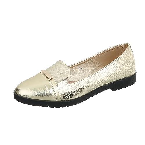 Ital-Design Zapatos para Mujer Mocasines Tacón Ancho Slip-On