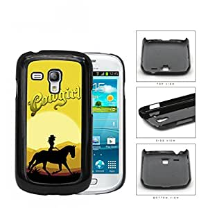 Cowgirl Horse Riding In The Sunset Hard Plastic Snap On Cell Phone Case Samsung Galaxy S3 SIII Mini I8200