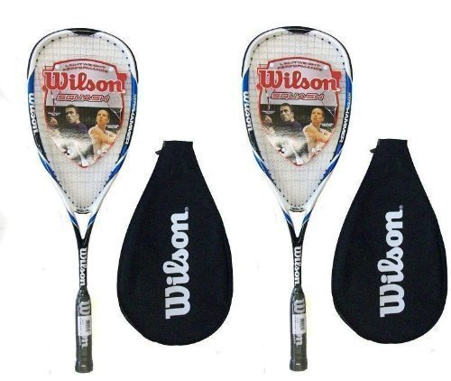 2 X Wilson Hyper Hammer Carbon 120 Blue Squash Racket