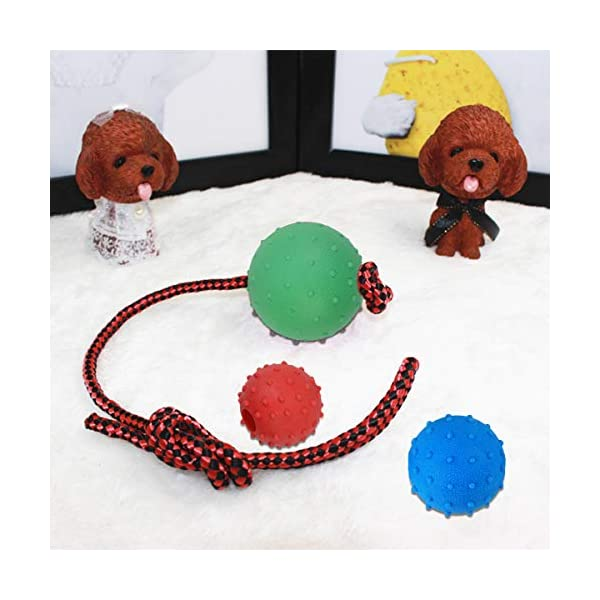 Legendog Dog Rope Ball, 3 Pcs Ball on a Rope Dog Toy Natural Elastic Solid Rubber Dogs Balls Chew Toys for Small Dogs (Multicolor-3PCS) 6