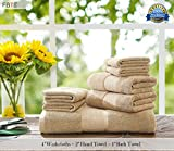 FBTS Basic Towel Sets Combination (Brown, 4 x Washcloths, 2 x Hand Towel, 1 x Bath Towel) 7 Pieces Highly Absorbent Extra Soft Professional Grade Five-Star Hotel Quality