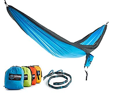 Double Parachute Hammock with FREE Tree Straps by Youphoria Outdoors - Lightweight Nylon Compression Travel Hammock with Premium Wiregate Aluminum Carabiners. 100% SATISFACTION MONEY-BACK GUARANTEE