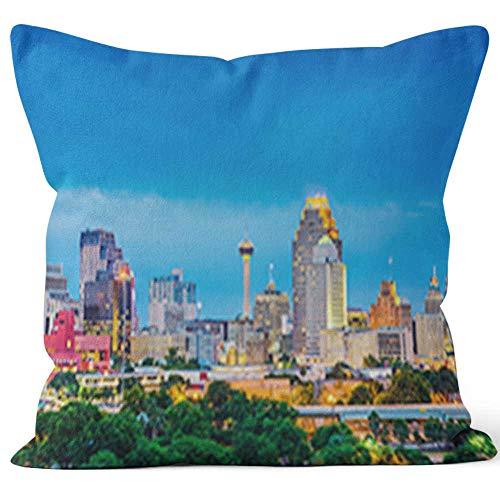 San Antonio Texas Skyline Burlap Pillow Home Decor Throw Pillow Cover,HD Printing Cotton Linen Cushion for Couch Sofa Bedroom Livingroom Kitchen Car