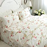 FADFAY Shabby Beige Floral Duvet Cover Set Cotton Bedding Set 4 Pcs(1flat Sheet+1duvet Cover+2pillowcases)Queen Size