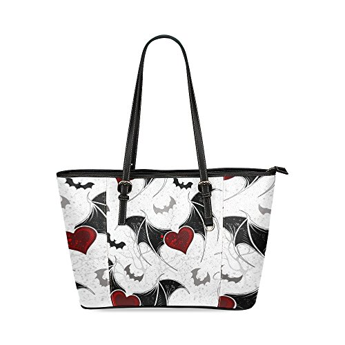 Custom Unique Leather Tote Bags Winged Hearts Top Handle Shoulder Bags Handbags For Women Girls