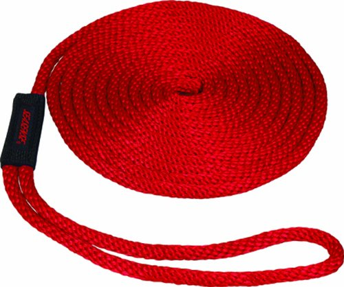 SeaSense Solid Braid MFP Dock Line with Chafe Guard, 1/2-Inch X 15-Foot, Red ()