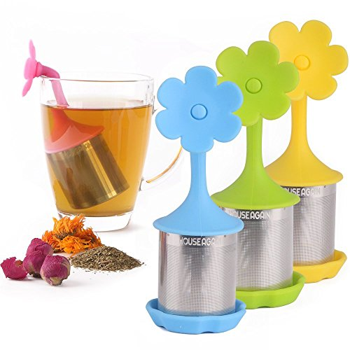 Tea Infuser - House Again 4-pack Extra Fine Mesh Tea Infuser with Drip Tray - 18/8 Stainless Steel Fine Mesh Tea Cup with BPA-Free Silicone Lid - Perfect Tea Balls Tea Strainers