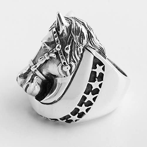 AmDxD Jewelry 925 Wedding Band Horse Head Stars Silver Rings Men Vintage Marriage Rings
