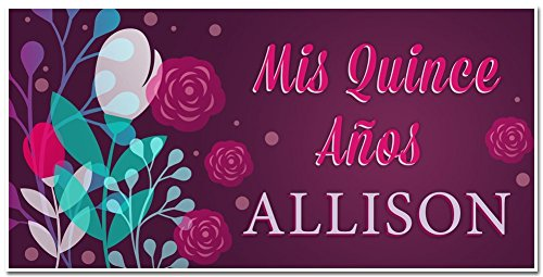 Mis Quince Quinceañera Fifteenth Birthday Celebration Personalized Banner Party (Fiesta Party Personalized Banner)