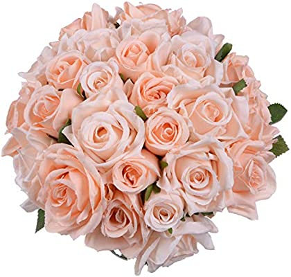 Artificial Flowers Rose Bouquet 2 Pack Fake Flowers Silk Plastic Artificial White Roses 18 Heads Bridal Wedding Bouquet For Home Garden Party Wedding Decoration Amazon Sg Home