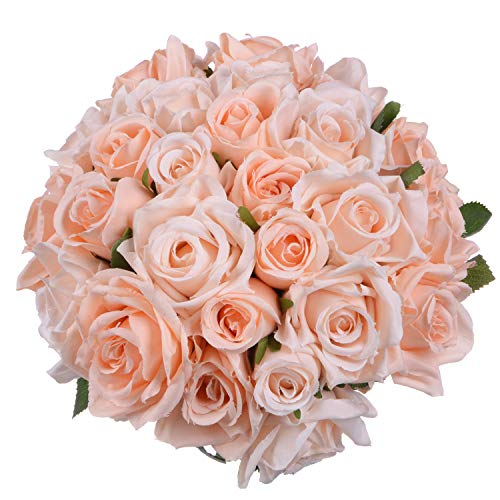 Pink Artificial Rose Bouquet - Artiflr 2 Pack Artificial Flowers Rose Bouquet Fake Flowers Silk Plastic Artificial Roses 18 Heads Bridal Wedding Bouquet for Home Garden Party Wedding Decoration