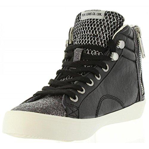 Para Clinton Negro Mesh black Zapatillas Mujer Jeans Pepe Altas CqBaXX