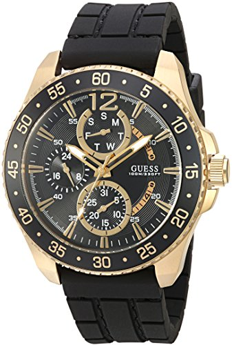 Stainless Dial Buckle Steel (GUESS Men's U0798G3 Sporty Gold-Tone Stainless Steel Watch with Multi-function Dial and Black Strap Buckle)