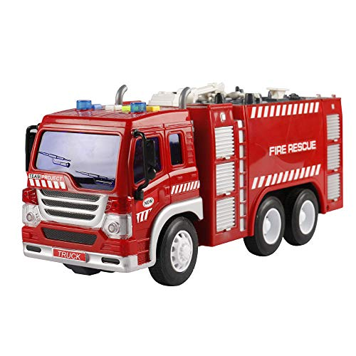 Inkach フリクションパワー 消防車 トラック クレーンライトとサウンド付き - 子供用 プルバック 車両 エンジニアリング 車 モデル おもちゃ One Size マルチカラー IN-1