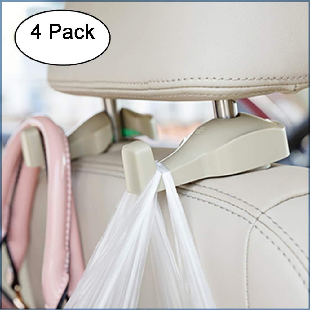 DNJ Home Car Headrest Hanger, Car Vehicle Back Seat Headrest Organizer, Holder for Bag, Purse, Cloth, Grocery 4-Pack (4, Beige)