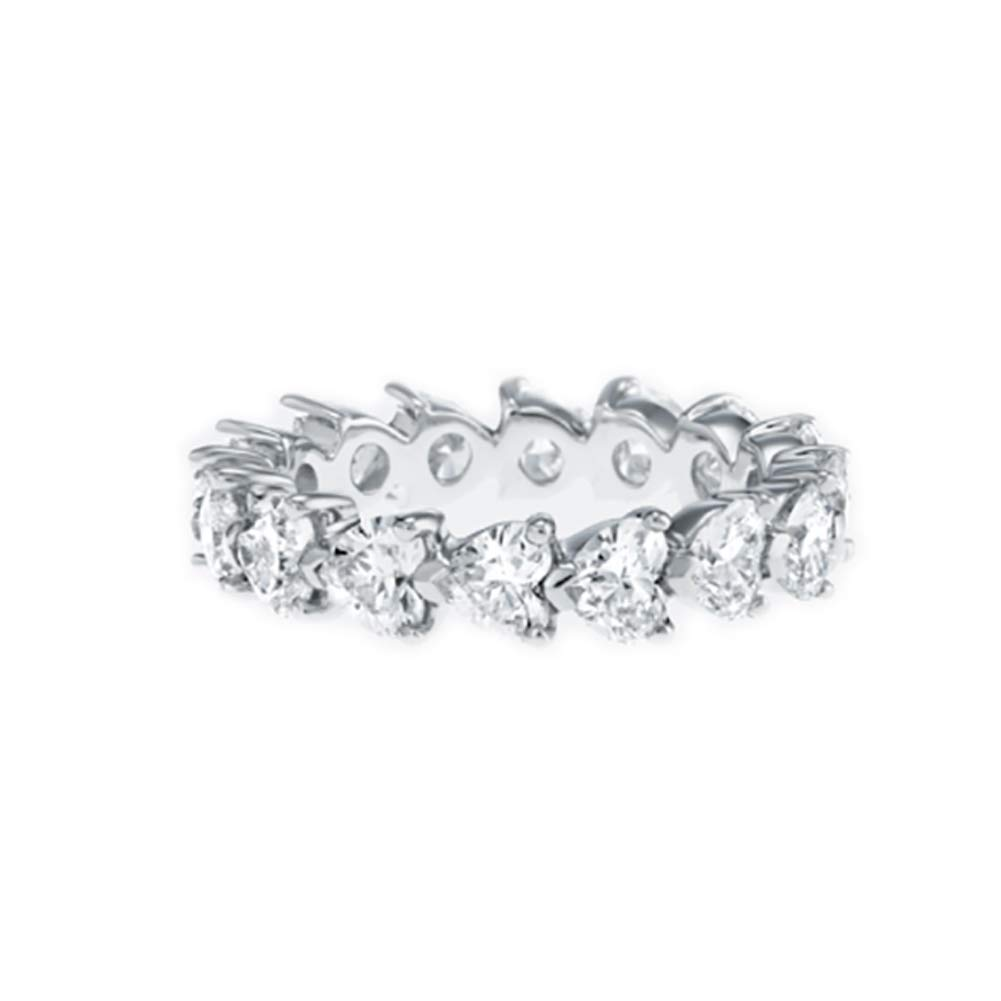 Erllo 925 Sterling Silver Zirconia Heart Shaped Eternity Band Engagement Wedding Ring (6.5)