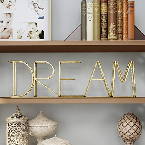 (Lavish Home Cutout Free-Standing Table Top Sign-3D Dream Word Art Accent Decor with Gold Metallic Finish-Modern, Classic, or Farmhouse Style)