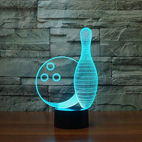 Creative Bowling Ball 3D Illusion Lamp Led Night Lights USB Touch Remote Atmosphere Lamp Novelty Lighting Gift for Children,Sykdybz ()
