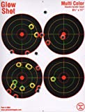 25 Pack – 4 Bullseye 8 1/2″ by 11″ – Reactive Splatter Targets – GlowShot – Multi Color – See Your Hits Instantly – Gun and Rifle Targets, Outdoor Stuffs