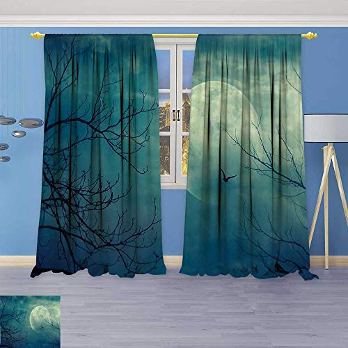Philiphome 2 Panel Curtains Decor Halloween with Full Moon in Sky and Dead Tree Branches Evil Haunted Linen Window Curtains Grommet Top
