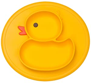 Silicone Divided Toddler Plates - Portable Non Slip Suction Plates for Children Babies and Kids BPA Free FDA Approved Baby Dinner Plate (Duck-Yellow)