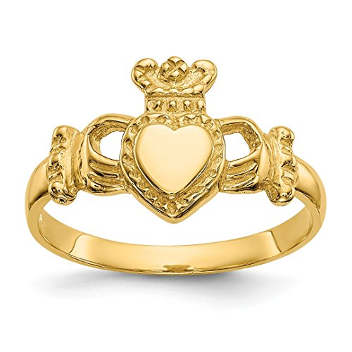14k Yellow Gold Ladies Irish Claddagh Celtic Knot Band Ring Size 6.00 Fine Jewelry For Women Gift Set from ICE CARATS