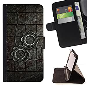 BullDog Case - FOR/Samsung Galaxy Core Prime / - / Metal Steampunk Wheel Sprocket /- Monedero de cuero de la PU Llevar cubierta de la caja con el ID Credit Card Slots Flip funda de cuer