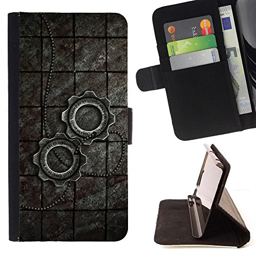 All Phone Most Case / Special Offer Smart Phone Leather Wallet Case Protective Case Cover for SAMSUNG GALAXY S7 ACTIVE // Metal Steampunk Wheel Sprocket