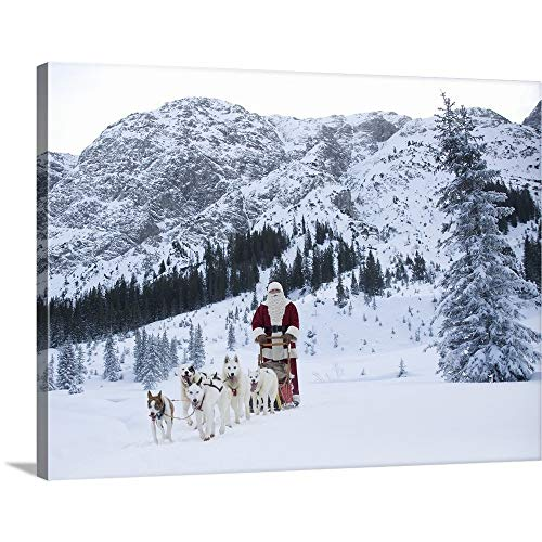 GREATBIGCANVAS Gallery-Wrapped Canvas Entitled A Team of Husky Dogs Pulling Santa Claus and his Sleigh by 40