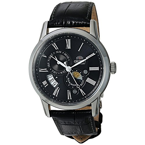 Orient Men's 'Sun and Moon Version 3' Japanese Automatic Stainless Steel and Leather Casual Watch, Color:Black (Model: FAK00004B0)