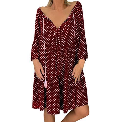 Dresses for Women Vintage Polka Dot Tie Neck Tassel A-LIne Swing Mini Dress Long Sleeve Causal Basic T-Shirt Dress (Marken Günstig Online)