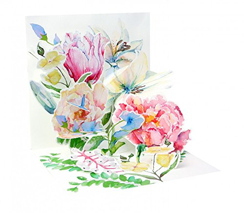 3D Pop Up greeting card - Watercolor Bouquet