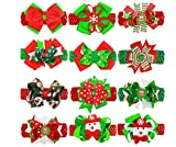 Lindy-hairbows Girl's Barrette Colorful Hair Pin, Boutique Hair Bow Clips Red Christmas Birthday Gift, Christmas, 12 Piece