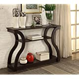 """Cappuccino Finish Hall Console Sofa Entryway Accent Table Modern Design 47.5"""" Wide"""