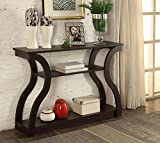 Cappuccino Finish Hall Console Sofa Entryway Accent Table Modern Design 47.5'' Wide