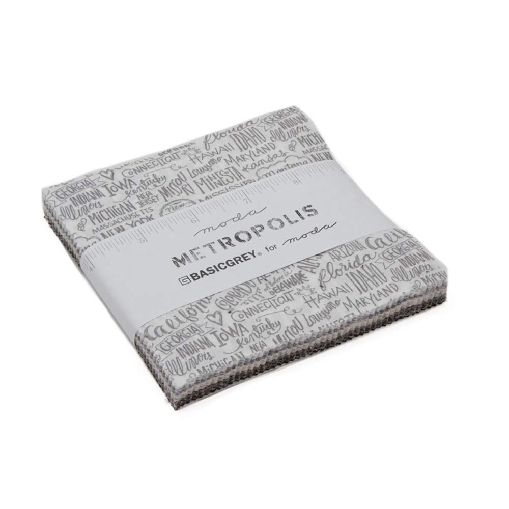 Metropolis Charm Pack by BasicGrey; 42-5 Inch Precut Fabric Quilt Squares