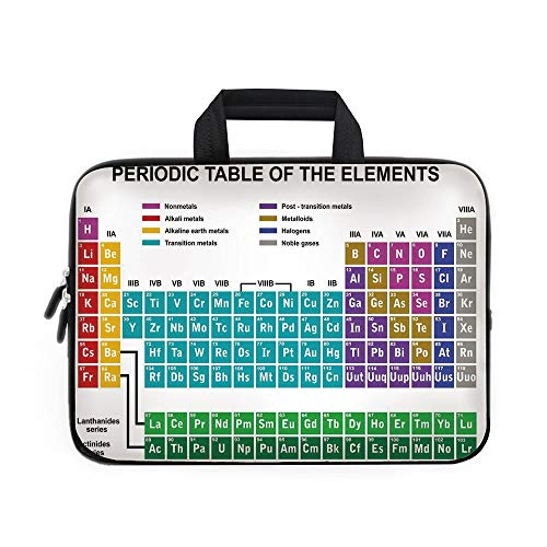 (Periodic Table Laptop Carrying Bag Sleeve,Neoprene Sleeve Case/Educational Artwork for Classroom Science Lab Chemistry Club Camp Kids Print/for Apple Macbook Air Samsung Google Acer HP DELL Lenovo Asu)