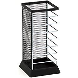 Stylish Square Umbrella Stand, Free Standing Storage Rack, Cane Walking Sticks Holder, Black, 18-inch