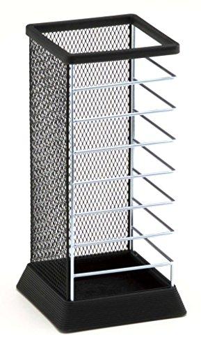(Stylish Square Umbrella Stand, Free Standing Storage Rack, Cane Walking Sticks Holder, Black, 18-inch)