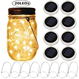 Mason Jar Solar Lantern Lights, 8 Pack 20 Leds Fairy Star Firefly Solar Lids Jar Lights,8 Hangers Included(No Jars),for Mason Jar Wedding Patio Garden Lanterns Table Decor Lights