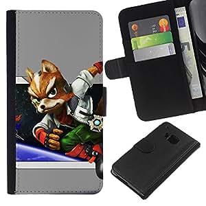 JackGot ( Espacio Fox ) HTC One M9 la tarjeta de Crédito Slots PU Funda de cuero Monedero caso cubierta de piel