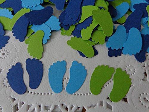 Navy Blue Lime Green Aqua Blue Baby Feet Confetti - 3/4