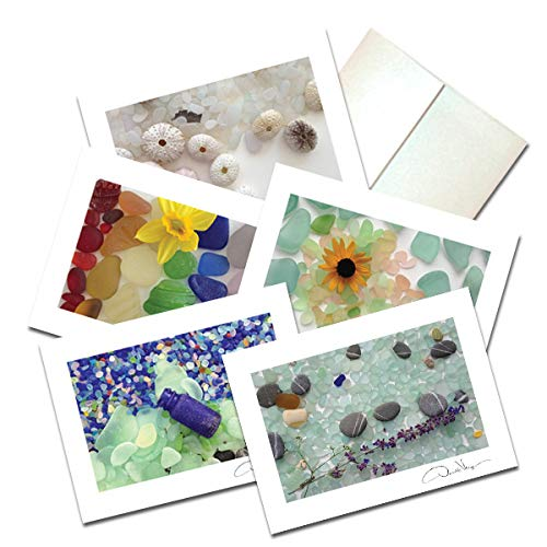 Elegant Sea Glass Fine Art Note Cards. 3.5x5 Set of 10 Blank Folded Cards Matching Envelopes. Unique Birthday Cards. Great Thank You Notes & Invitations. Best Quality Christmas & Valentines Day Gifts