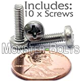 (10) M3.5-0.60 x 12mm - Metric Stainless Steel Phillips Pan Machine Screw (Type H) 18-8/A2 - DIN 7985A - MonsterBolts (10, M3.5 x 12mm)
